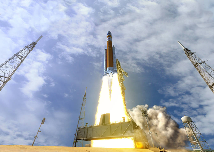 This illustration depicts NASA's Space Launch System (SLS) rocket in the Block 1B cargo configuration at launch.